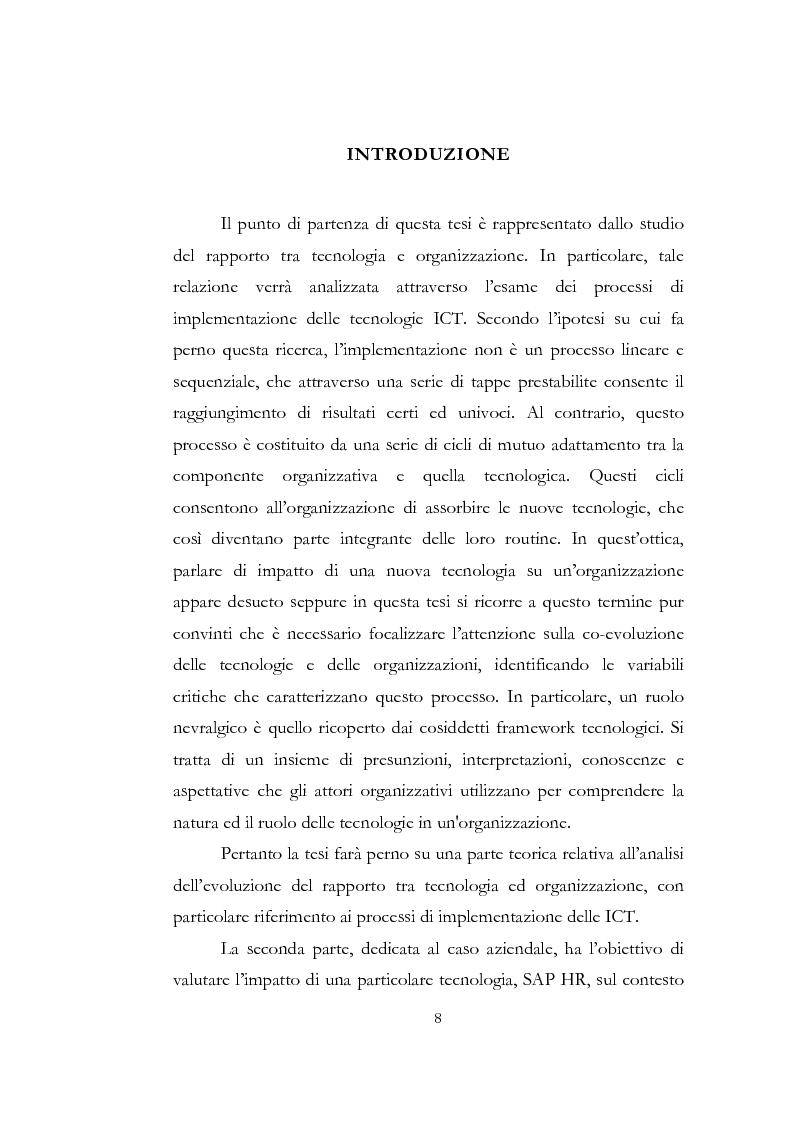 Anteprima della tesi: Problematiche relative alle implicazioni organizzative dell'implementazione delle ICT. Il caso SAP HR di Shared Service Center by Pirelli & Telecom Italia, Pagina 1