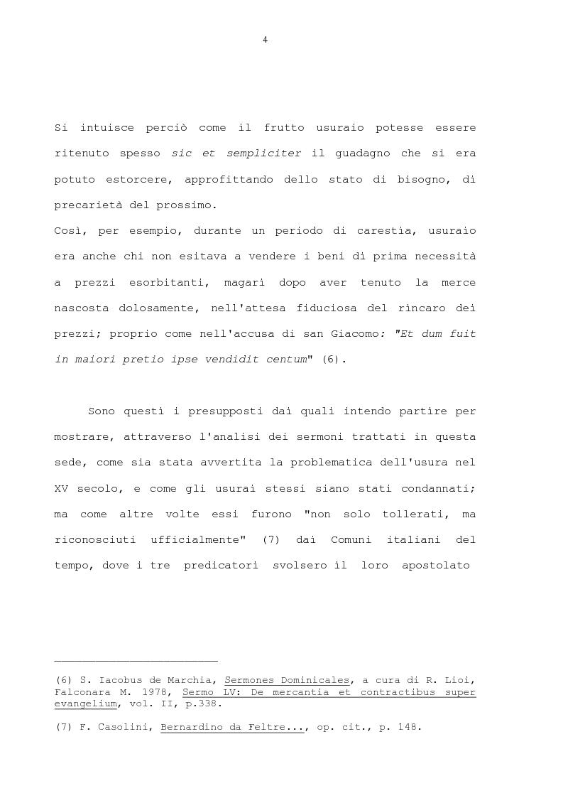 Anteprima della tesi: La condanna dell'usura in alcune prediche di S. Bernardino da Siena, di S. Giacomo della Marca e del beato Bernardino da Feltre, Pagina 4