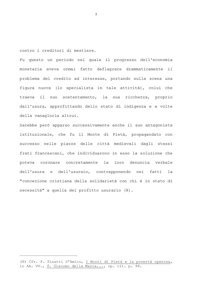 Anteprima della tesi: La condanna dell'usura in alcune prediche di S. Bernardino da Siena, di S. Giacomo della Marca e del beato Bernardino da Feltre, Pagina 5