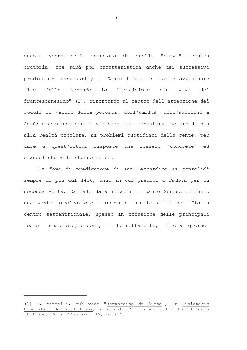 Anteprima della tesi: La condanna dell'usura in alcune prediche di S. Bernardino da Siena, di S. Giacomo della Marca e del beato Bernardino da Feltre, Pagina 8