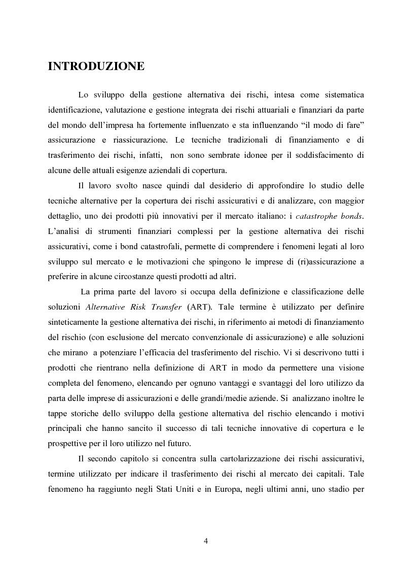 Anteprima della tesi: La gestione alternativa dei rischi assicurativi: i catastrophe bonds, Pagina 1