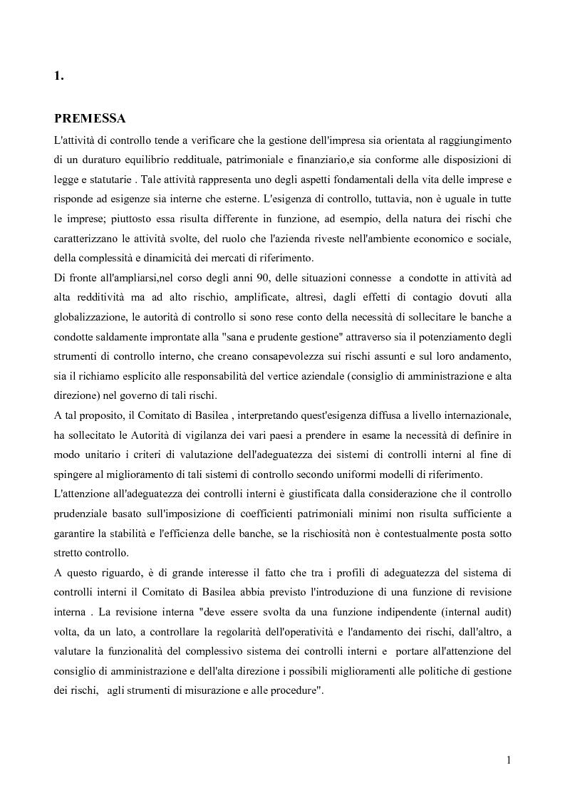 Anteprima della tesi: I rischi dell'attività bancaria (il rischio operativo) e il sistema dei controlli interni, Pagina 1