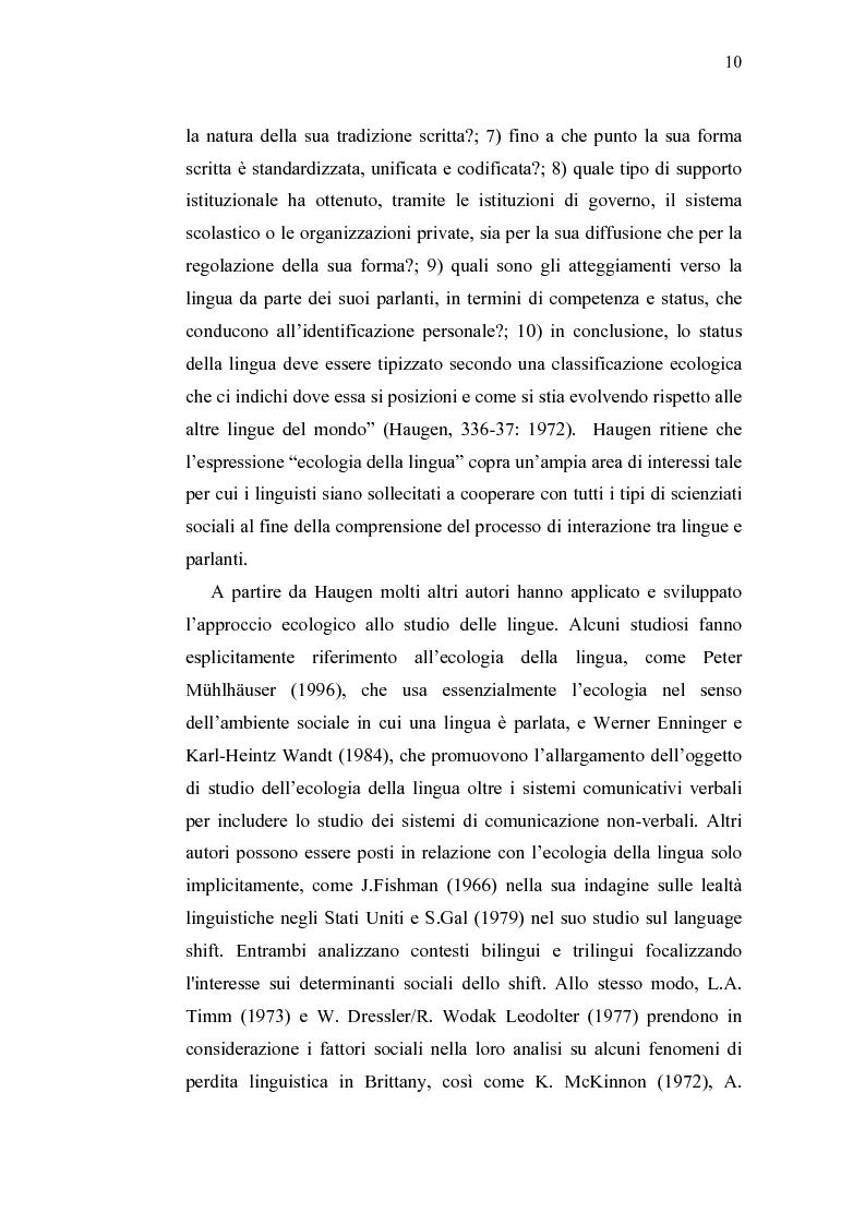 Anteprima della tesi: Ecolinguistica dell'Italiano negli Stati Uniti. Dinamiche del processo di perdita linguistica tra gli emigrati italiani nel territorio statunitense, Pagina 10