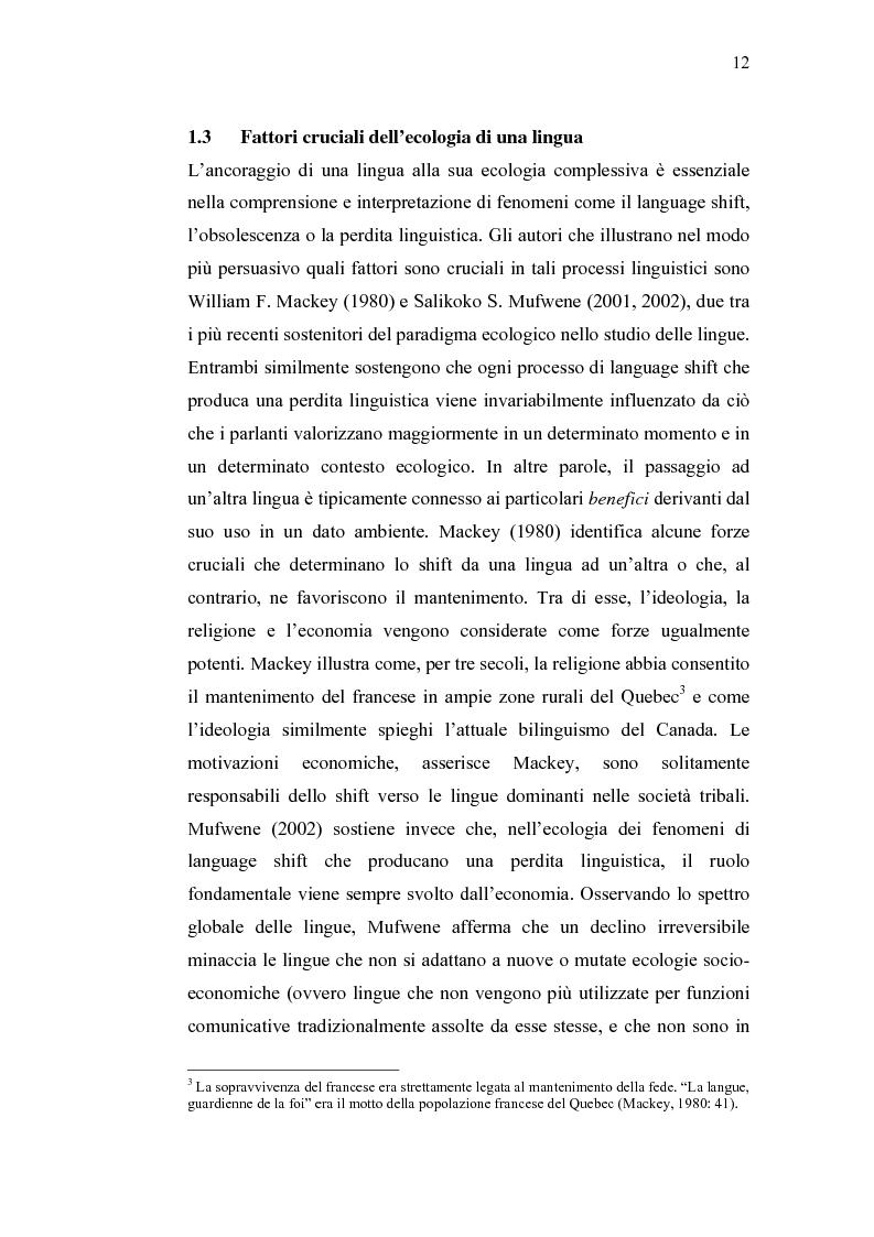 Anteprima della tesi: Ecolinguistica dell'Italiano negli Stati Uniti. Dinamiche del processo di perdita linguistica tra gli emigrati italiani nel territorio statunitense, Pagina 12