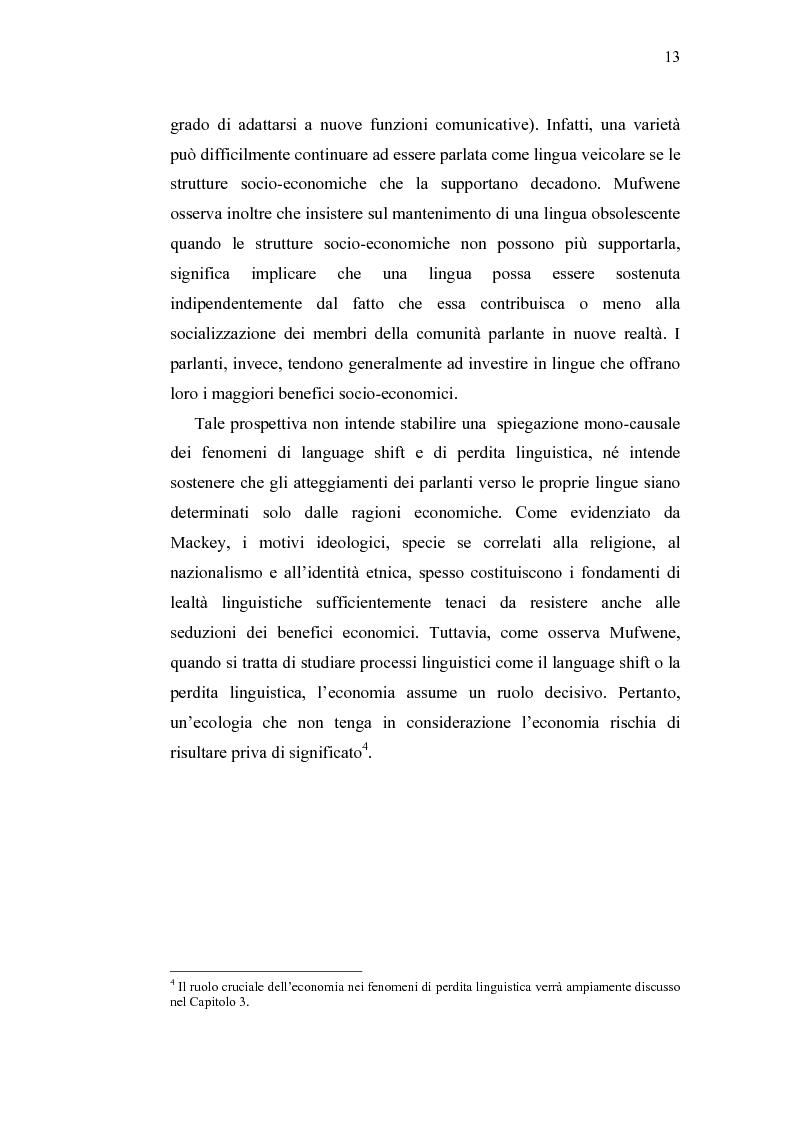Anteprima della tesi: Ecolinguistica dell'Italiano negli Stati Uniti. Dinamiche del processo di perdita linguistica tra gli emigrati italiani nel territorio statunitense, Pagina 13