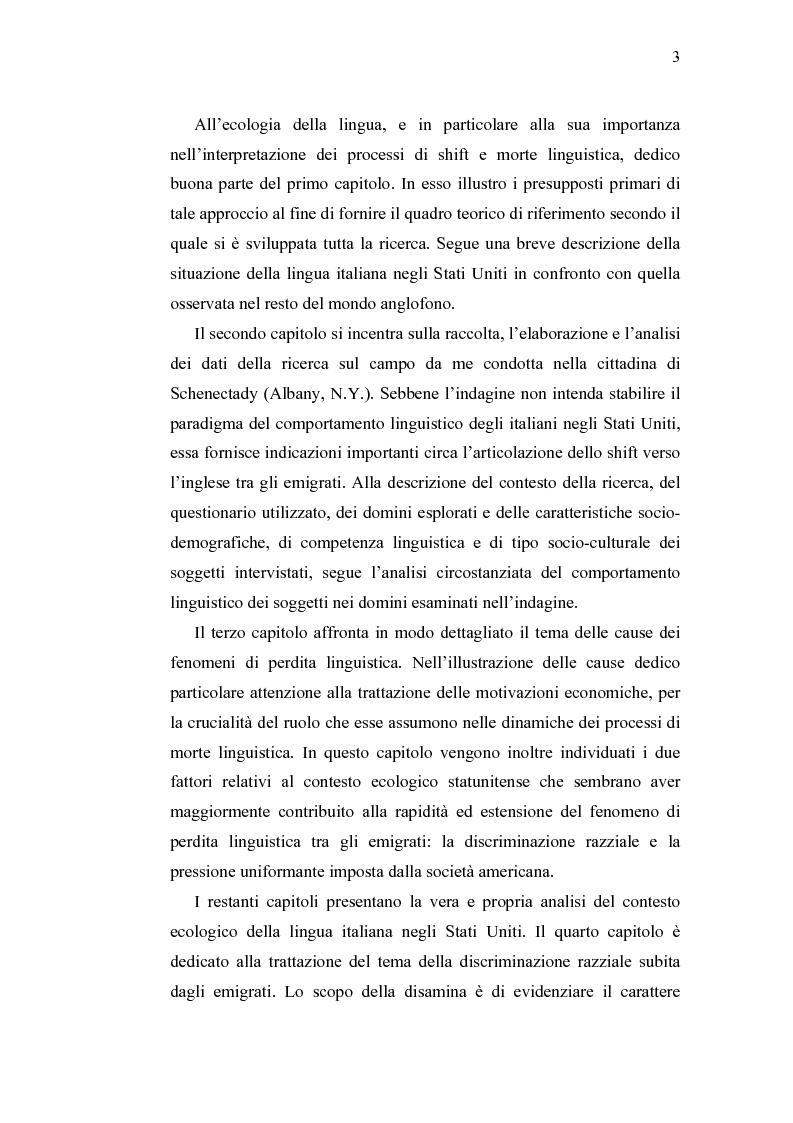 Anteprima della tesi: Ecolinguistica dell'Italiano negli Stati Uniti. Dinamiche del processo di perdita linguistica tra gli emigrati italiani nel territorio statunitense, Pagina 3