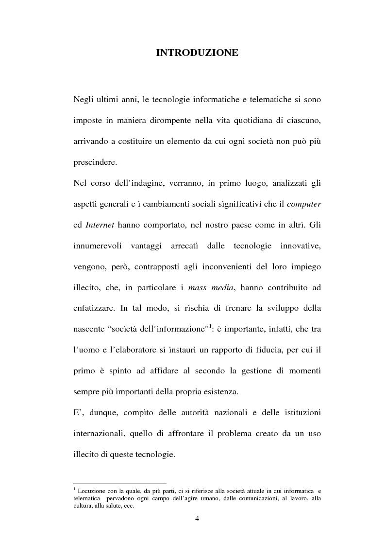 Anteprima della tesi: Le offese al patrimonio mediante strumenti informatici, Pagina 1