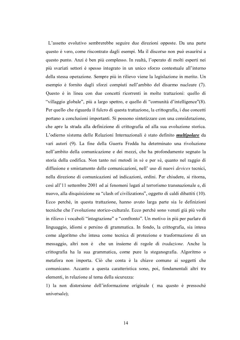 Anteprima della tesi: Crittografia come scienza in fieri: approcci alla sicurezza internazionale, Pagina 14