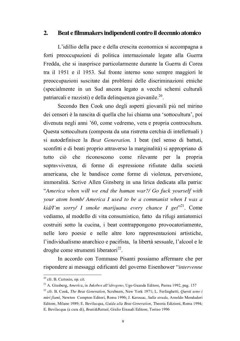 Anteprima della tesi: Il cinema americano e la controcultura fra gli anni '50 e gli anni '70, Pagina 7