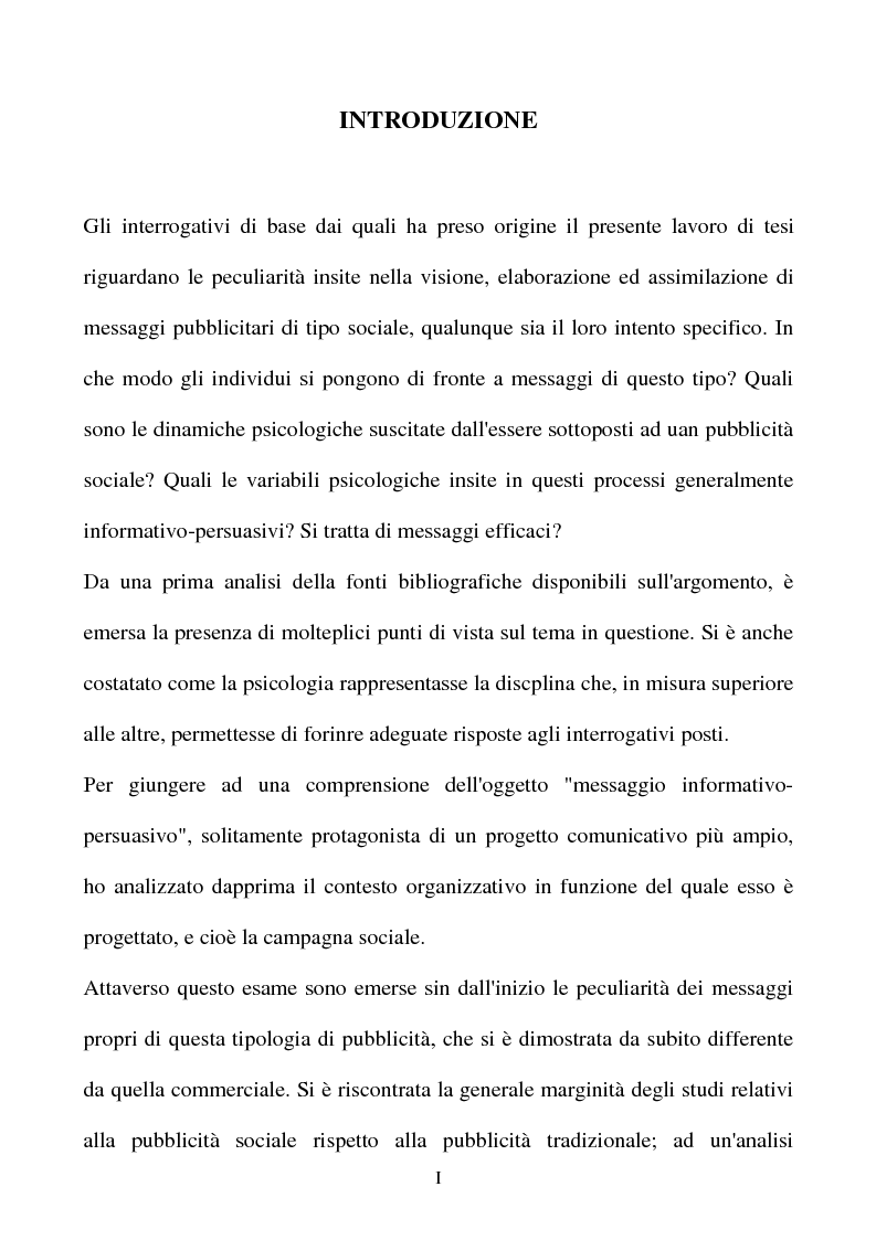 Anteprima della tesi: Il messaggio informativo-persuasivo, Pagina 1