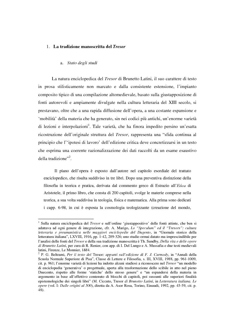 Anteprima della tesi: Brunetto Latini - ''Tresor'' - Volgarizzamento di Bono Giamboni - Adattamento salentino, Pagina 1