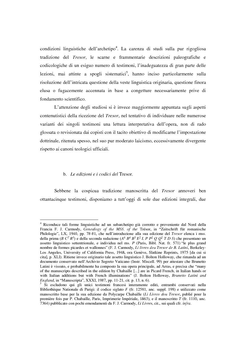 Anteprima della tesi: Brunetto Latini - ''Tresor'' - Volgarizzamento di Bono Giamboni - Adattamento salentino, Pagina 3