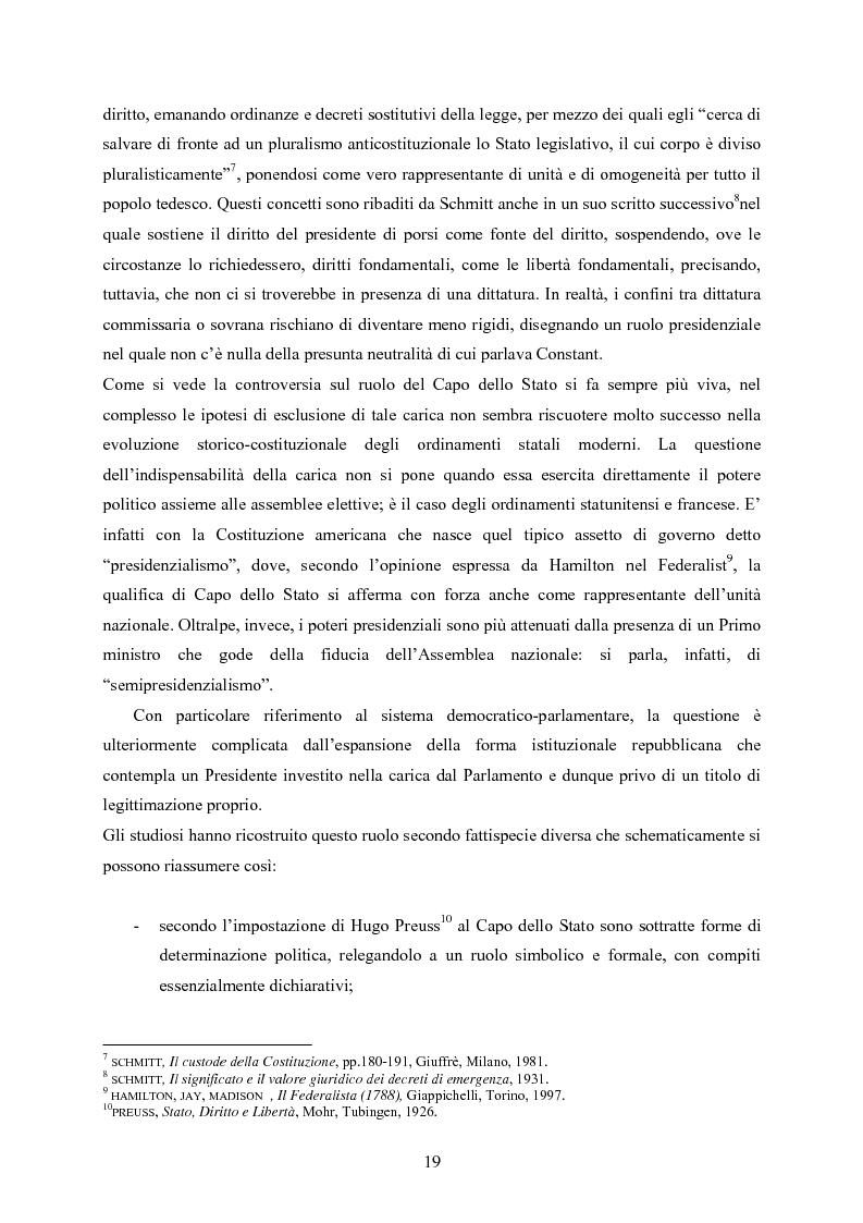 Anteprima della tesi: Tipologia degli atti del Presidente della Repubblica nell'ordinamento costituzionale italiano, Pagina 12