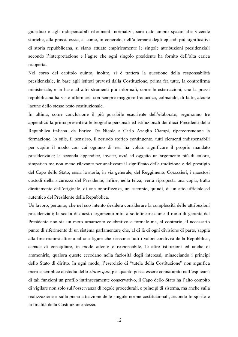 Anteprima della tesi: Tipologia degli atti del Presidente della Repubblica nell'ordinamento costituzionale italiano, Pagina 5