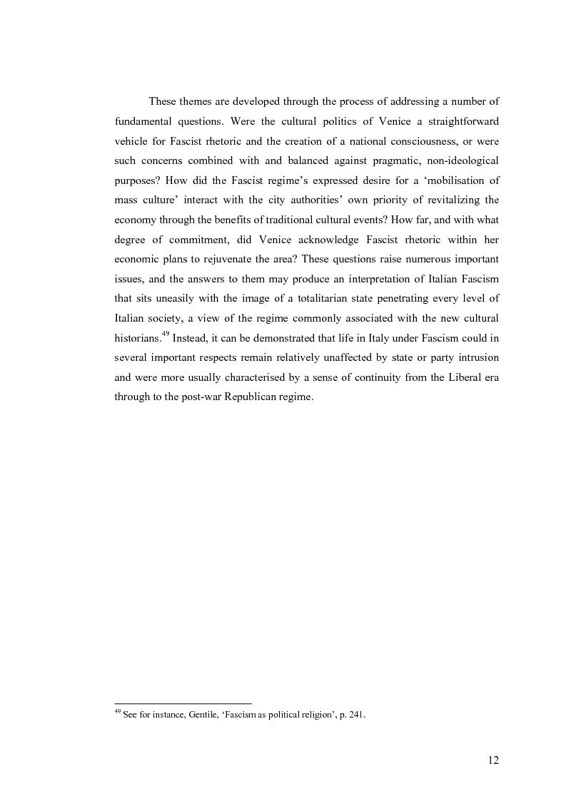 Anteprima della tesi: Culture, tourism and Fascism in Venice 1919-1945, Pagina 12