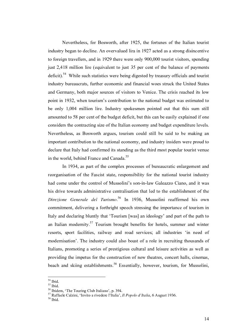 Anteprima della tesi: Culture, tourism and Fascism in Venice 1919-1945, Pagina 14