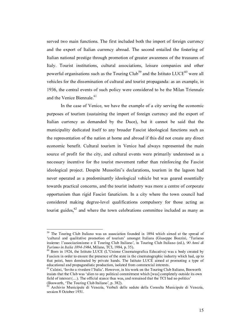 Anteprima della tesi: Culture, tourism and Fascism in Venice 1919-1945, Pagina 15