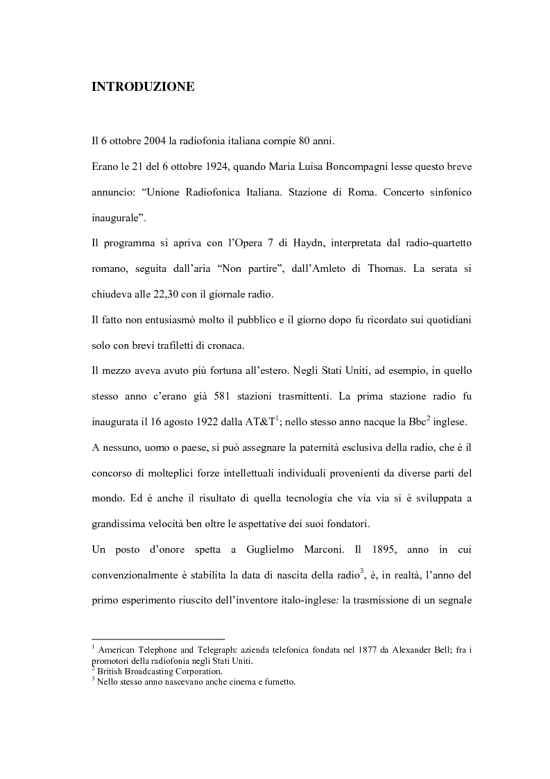 Anteprima della tesi: L'informazione alla radio e la novità di ''zapping'' nel panorama radiofonico italiano, Pagina 1