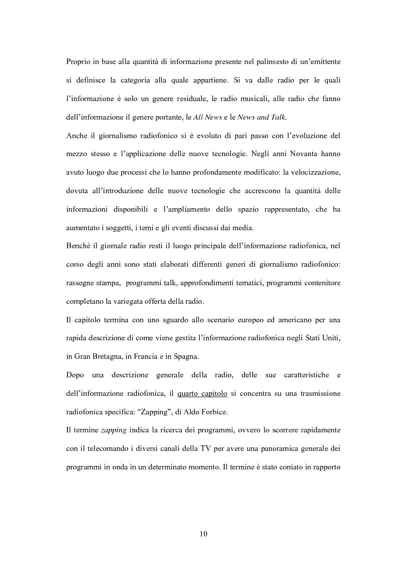 Anteprima della tesi: L'informazione alla radio e la novità di ''zapping'' nel panorama radiofonico italiano, Pagina 10