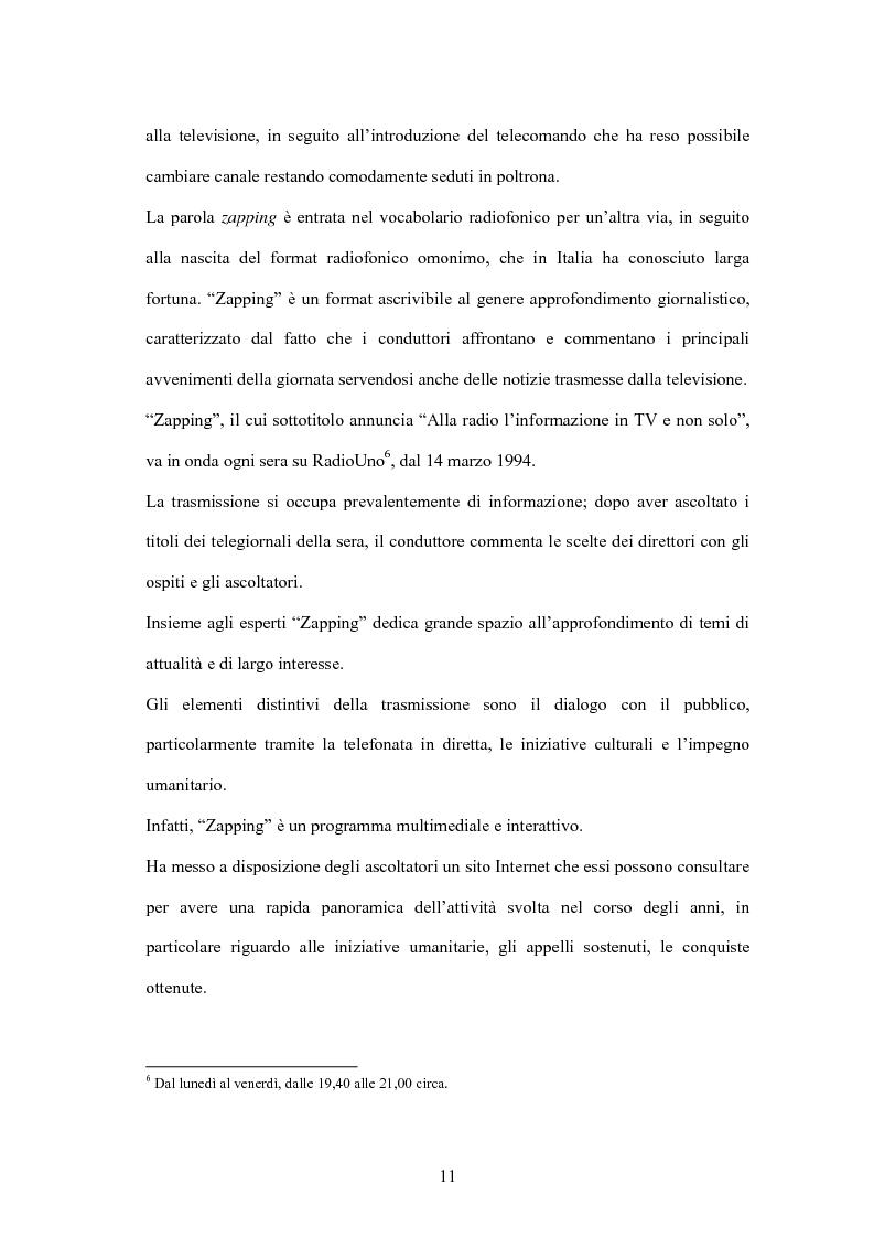 Anteprima della tesi: L'informazione alla radio e la novità di ''zapping'' nel panorama radiofonico italiano, Pagina 11