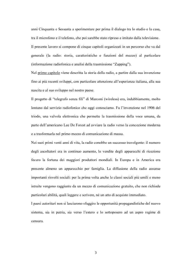 Anteprima della tesi: L'informazione alla radio e la novità di ''zapping'' nel panorama radiofonico italiano, Pagina 3
