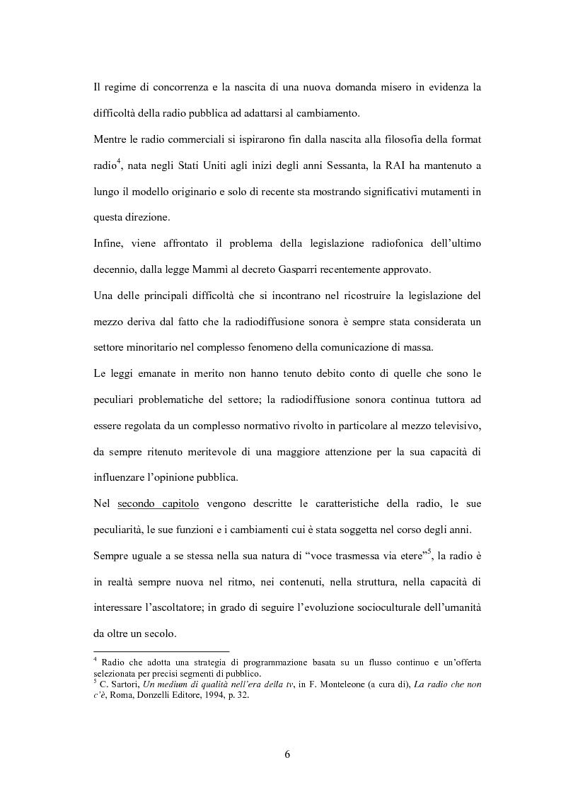 Anteprima della tesi: L'informazione alla radio e la novità di ''zapping'' nel panorama radiofonico italiano, Pagina 6