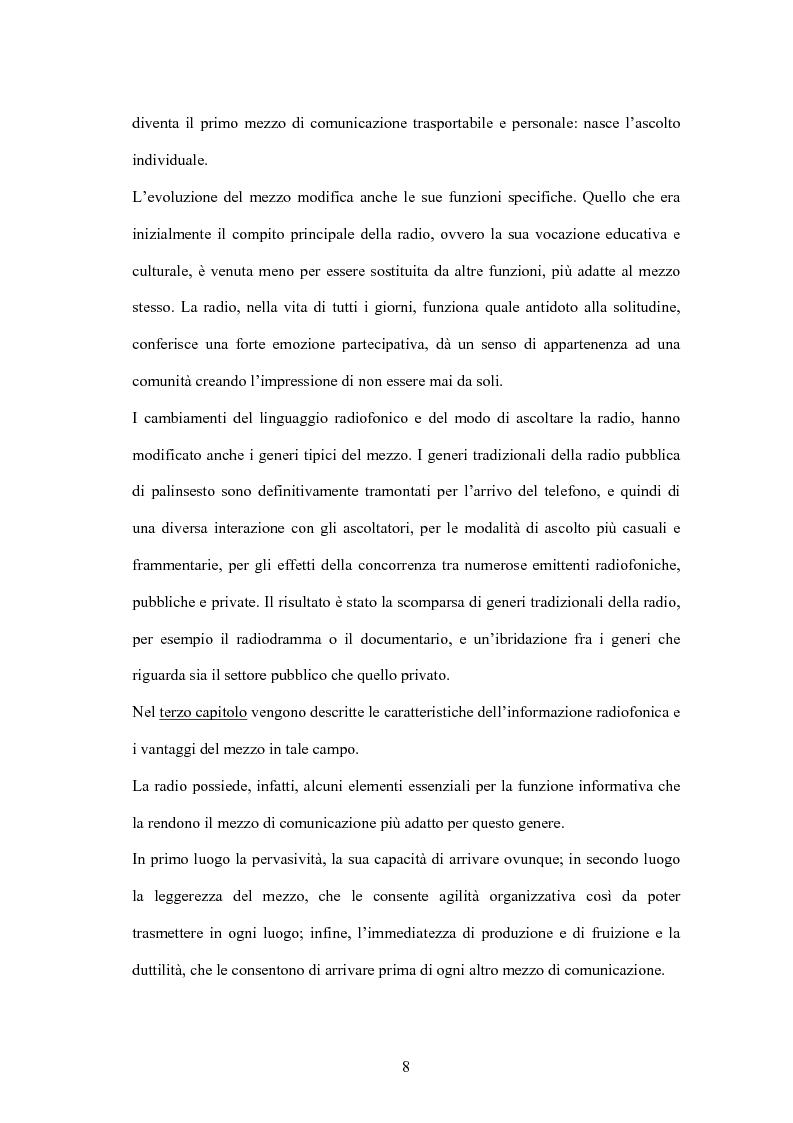 Anteprima della tesi: L'informazione alla radio e la novità di ''zapping'' nel panorama radiofonico italiano, Pagina 8