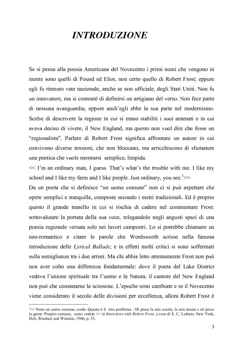 Anteprima della tesi: La poetica del confine.Tre poesie tradotte di Robert Frost, Pagina 1