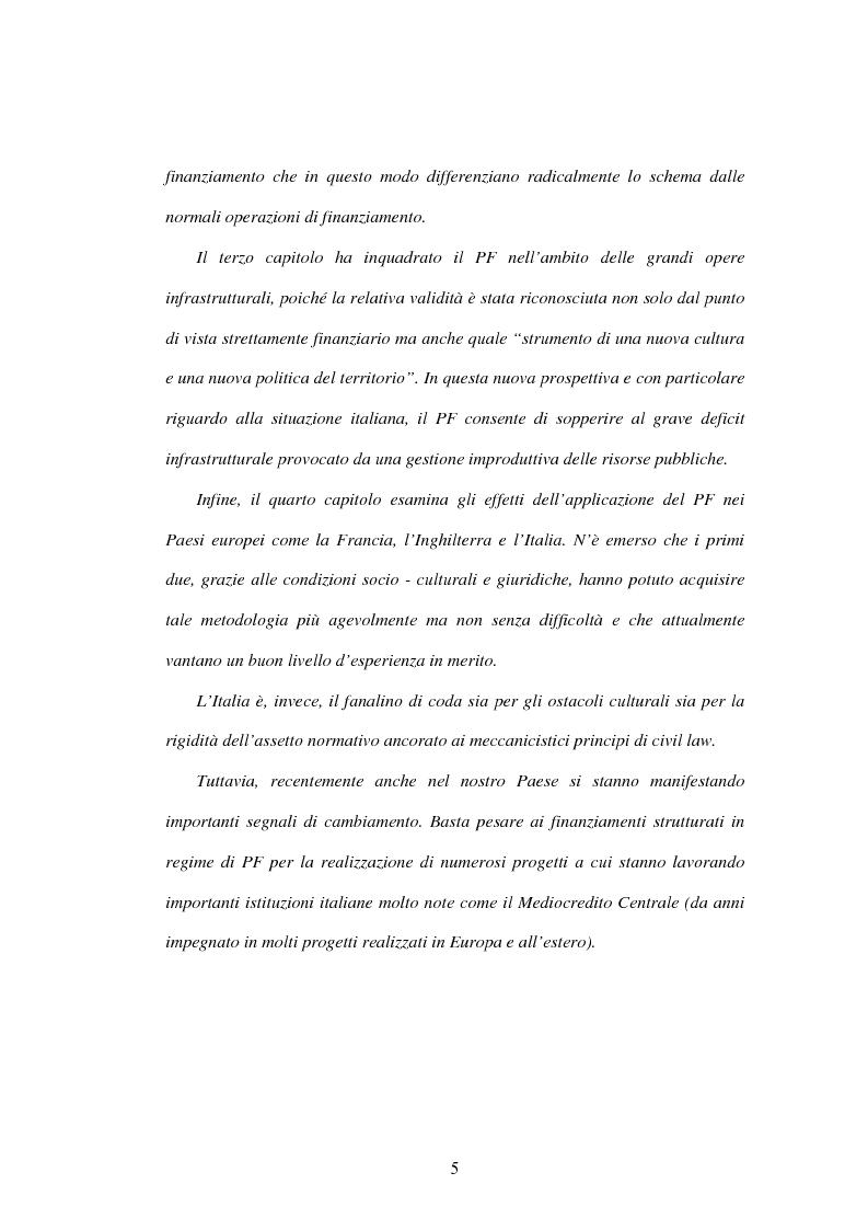 Anteprima della tesi: Il project financing: la realizzazione delle grandi opere infrastrutturali, Pagina 3