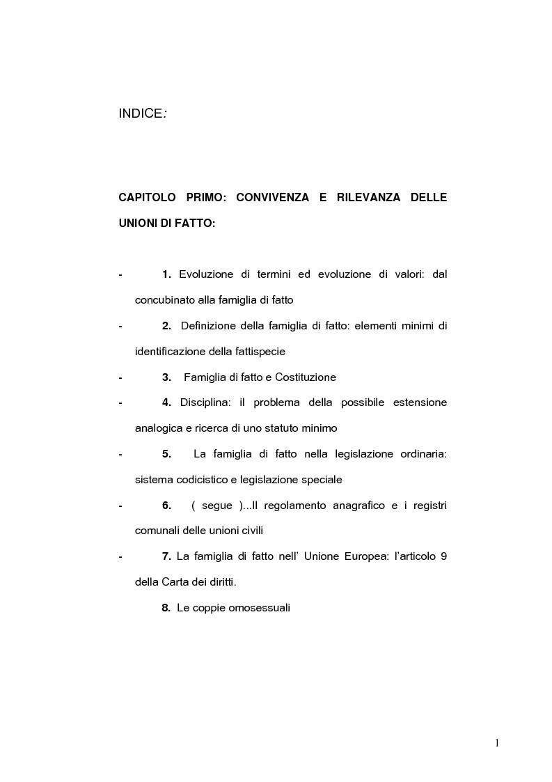 Indice della tesi: La famiglia di fatto, Pagina 1