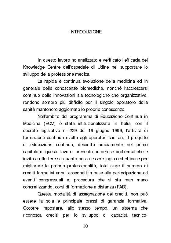 Anteprima della tesi: Dall'aggiornamento obbligatorio ad un modello di Sviluppo Professionale Continuo in medicina. L'esperienza del Knowledge Centre dell'ospedale di Udine, Pagina 1