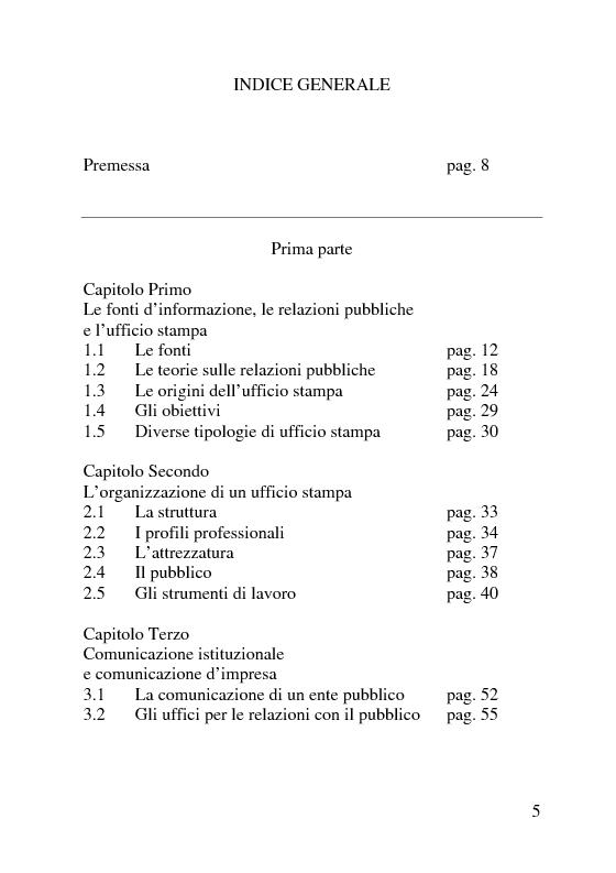 Indice della tesi: Il servizio stampa dell'europarlamento. Raccolta, selezione, trattamento delle notizie sulla principale istituzione europea, Pagina 1