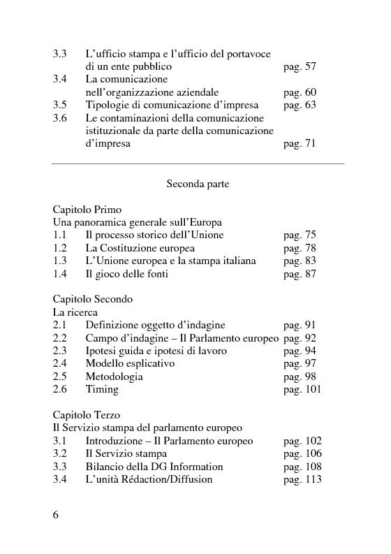 Indice della tesi: Il servizio stampa dell'europarlamento. Raccolta, selezione, trattamento delle notizie sulla principale istituzione europea, Pagina 2