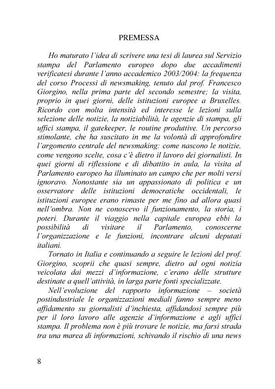 Anteprima della tesi: Il servizio stampa dell'europarlamento. Raccolta, selezione, trattamento delle notizie sulla principale istituzione europea, Pagina 1