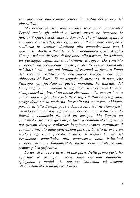 Anteprima della tesi: Il servizio stampa dell'europarlamento. Raccolta, selezione, trattamento delle notizie sulla principale istituzione europea, Pagina 2