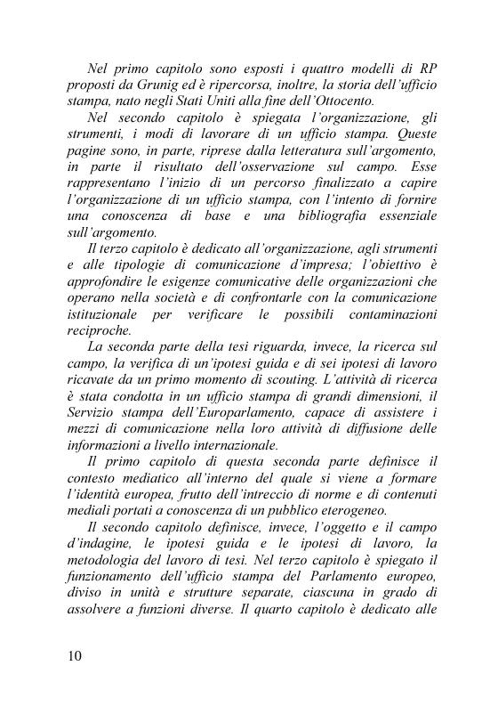 Anteprima della tesi: Il servizio stampa dell'europarlamento. Raccolta, selezione, trattamento delle notizie sulla principale istituzione europea, Pagina 3