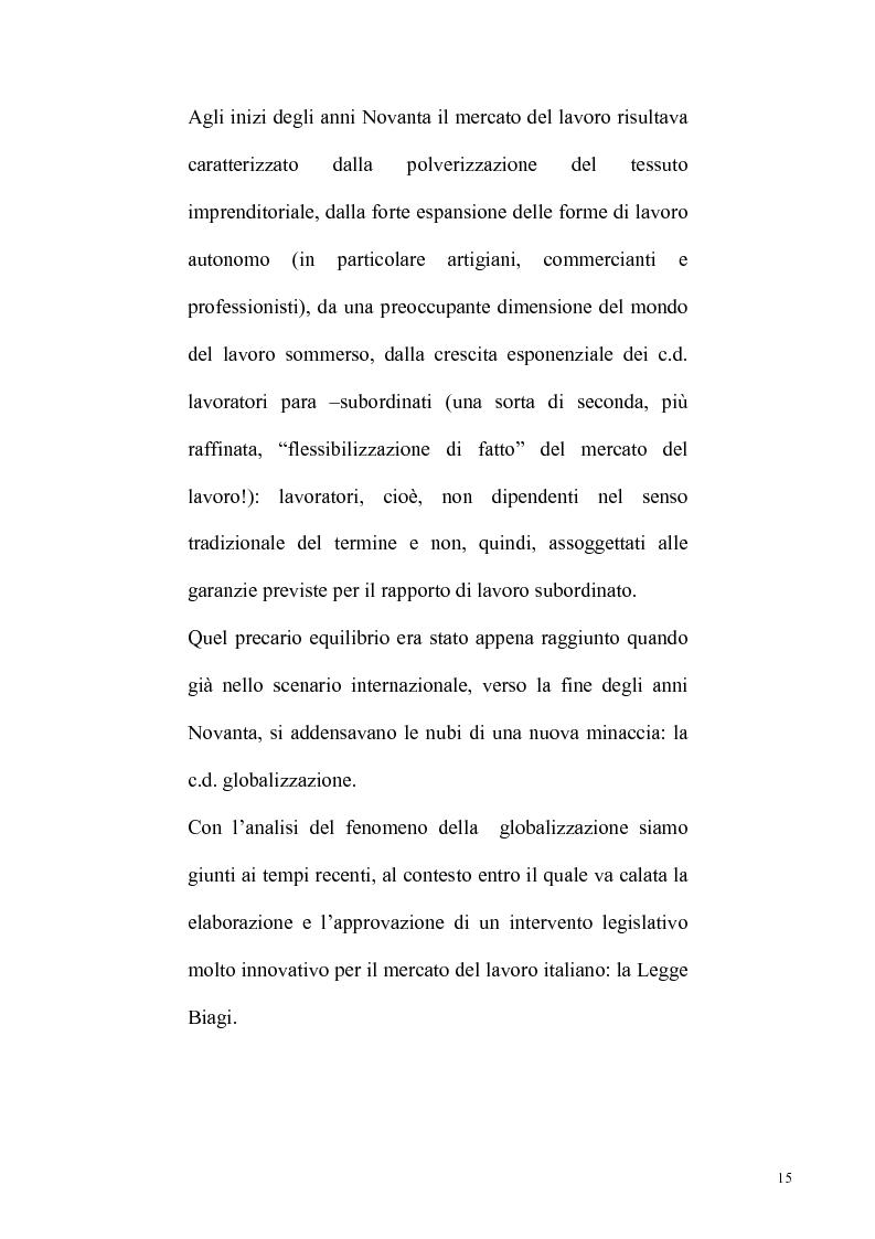 Anteprima della tesi: La riforma Biagi del mercato del lavoro: i contratti a progetto, Pagina 12