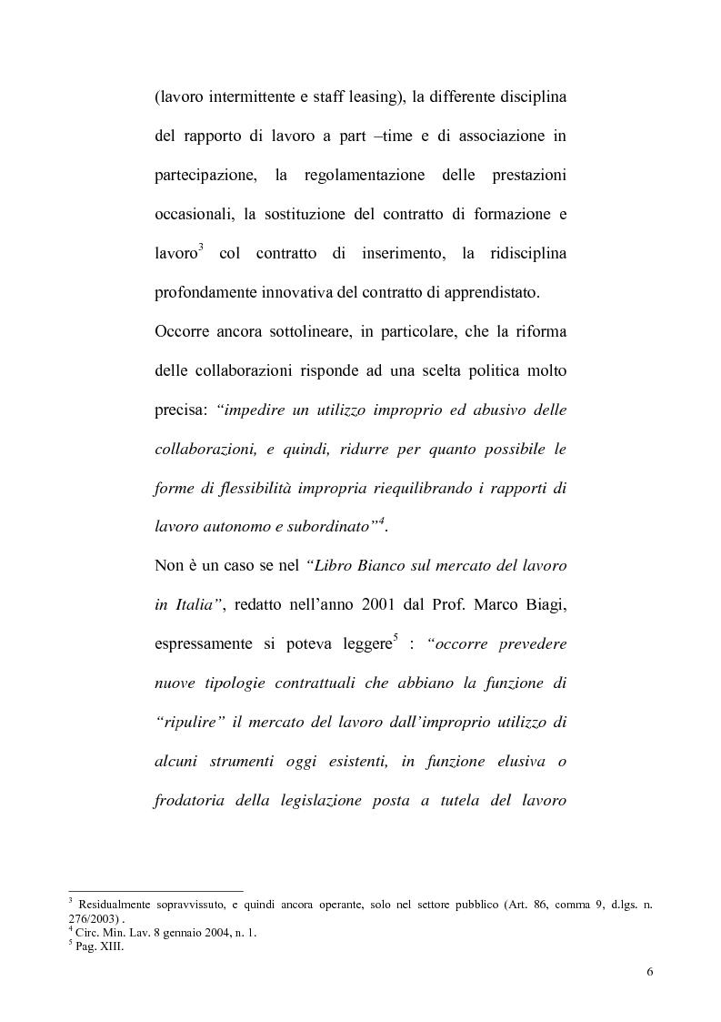 Anteprima della tesi: La riforma Biagi del mercato del lavoro: i contratti a progetto, Pagina 3