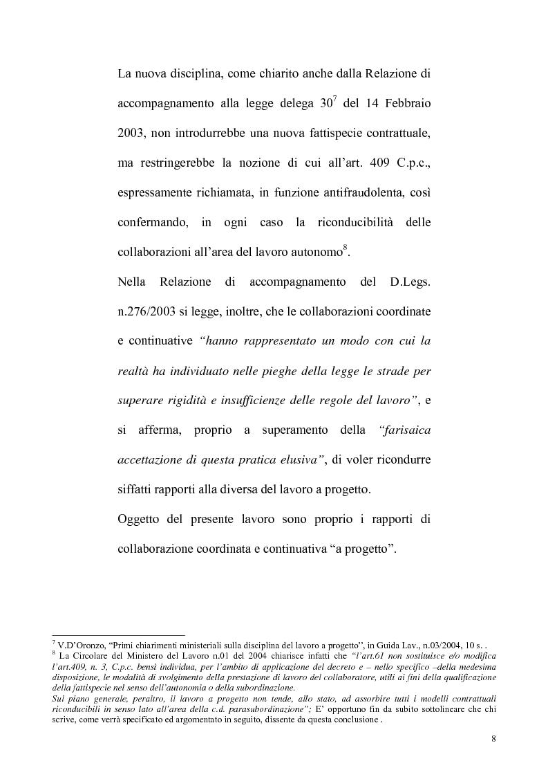 Anteprima della tesi: La riforma Biagi del mercato del lavoro: i contratti a progetto, Pagina 5