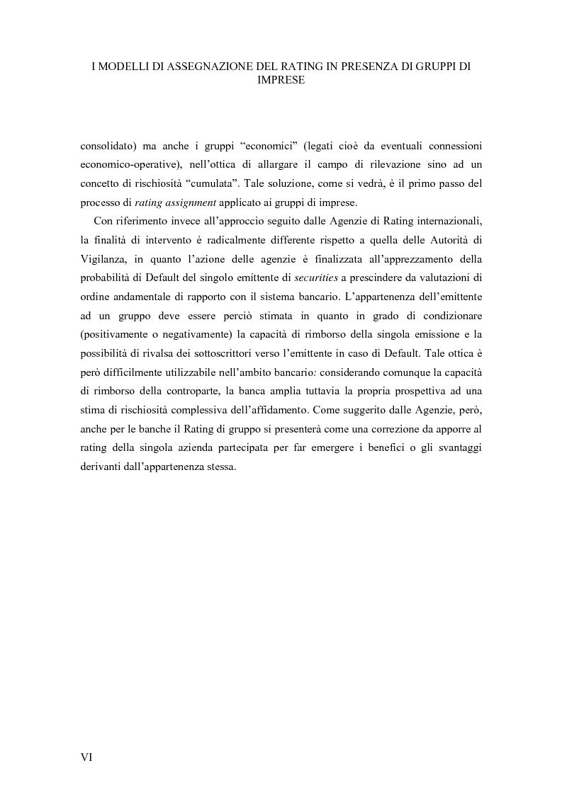 Anteprima della tesi: I Modelli di Assegnazione del Rating in presenza di Gruppi di Imprese, Pagina 6