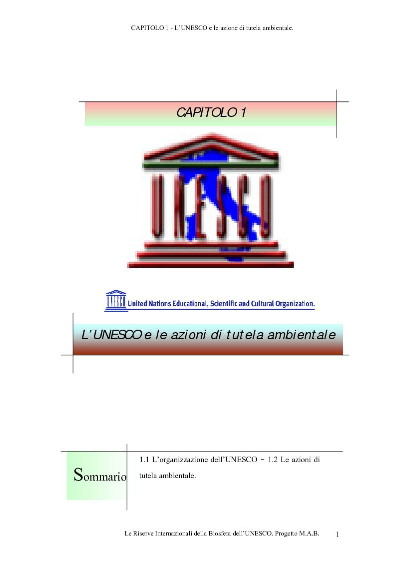 Anteprima della tesi: Le Riserve Internazionali della Biosfera dell'UNESCO. Progetto M.A.B., Pagina 4