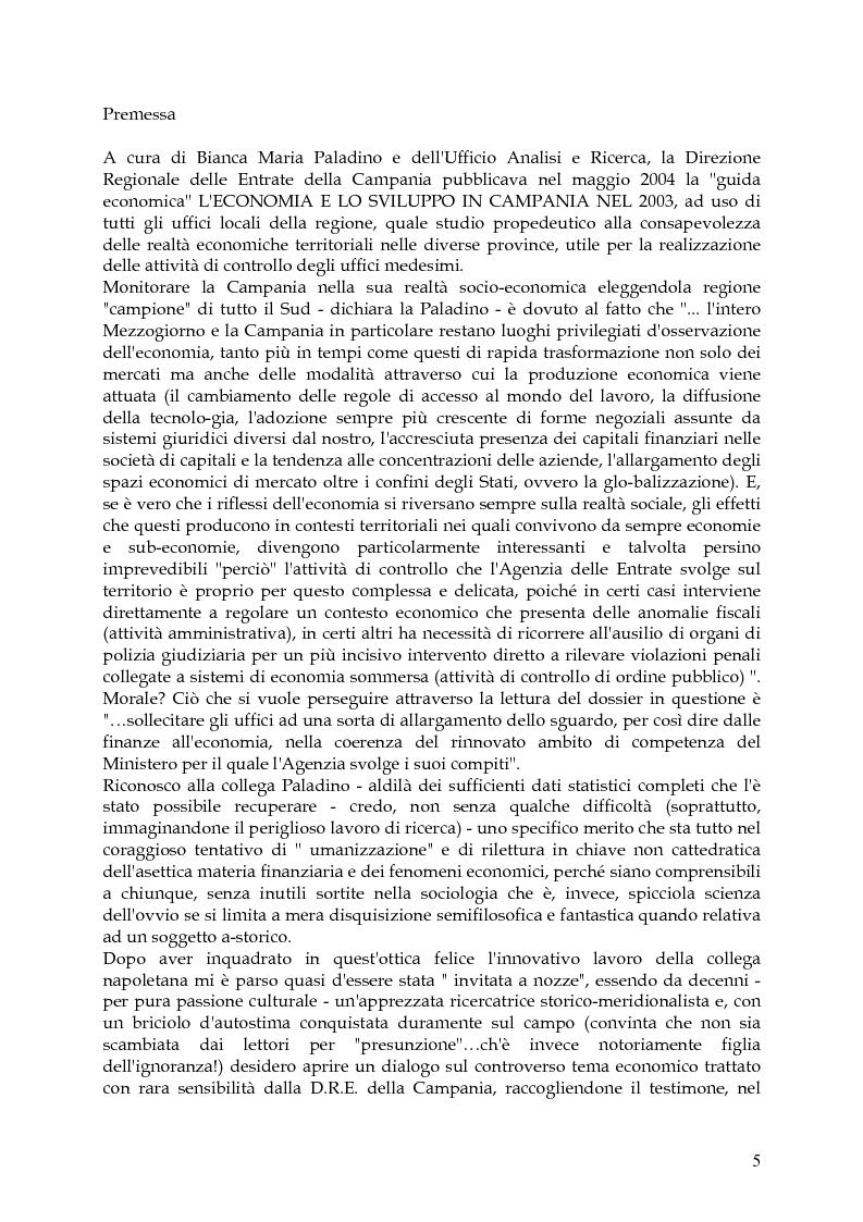 Anteprima della tesi: Vita, morte e ''miracoli'' dell'Economia e del (sotto) Sviluppo in Campania-1860/2004, Pagina 1
