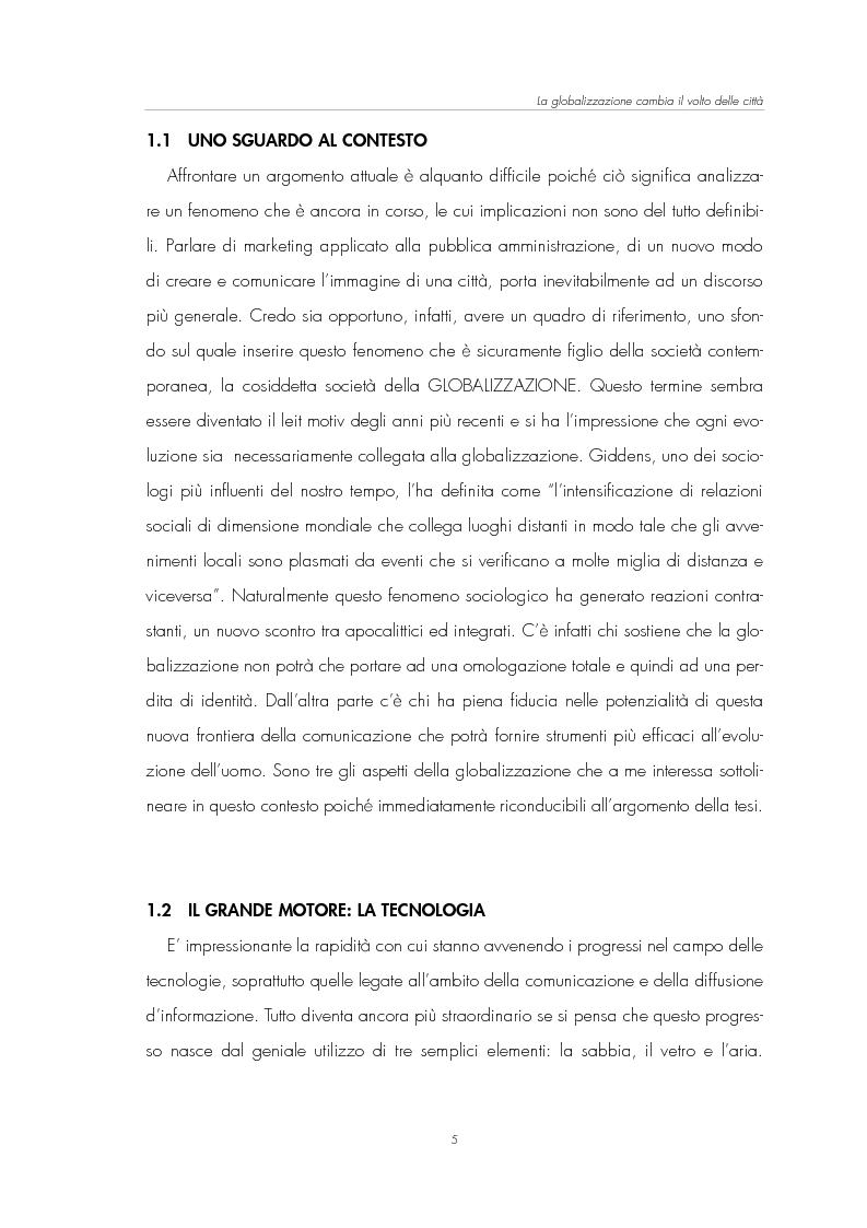 Anteprima della tesi: Il Marketing Territoriale: come cambiare l'immagine di una città, Pagina 1