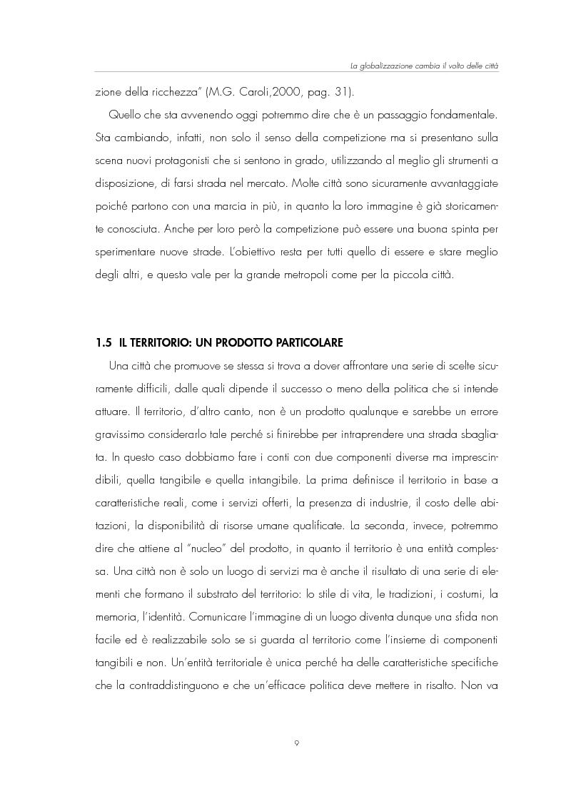 Anteprima della tesi: Il Marketing Territoriale: come cambiare l'immagine di una città, Pagina 5
