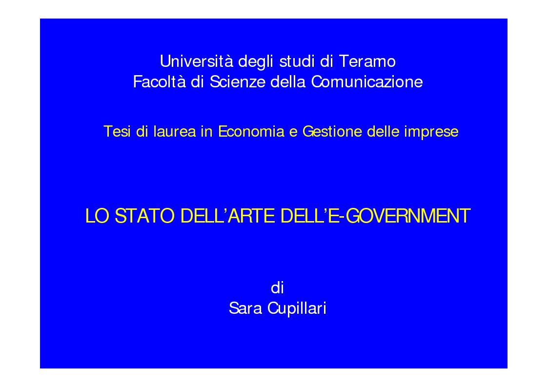 Anteprima della tesi: Lo stato dell'arte dell'E-Government, Pagina 1