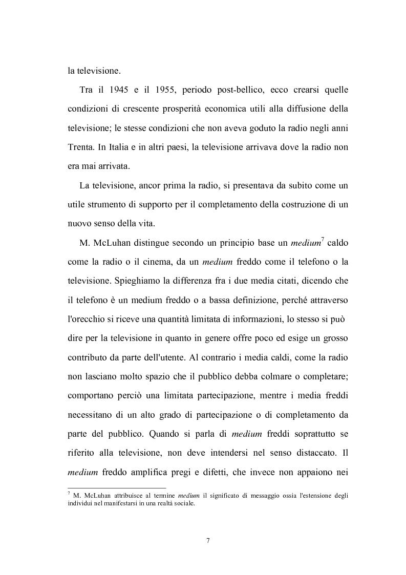 Anteprima della tesi: Ruolo della televisione nella socializzazione dei minori, Pagina 7
