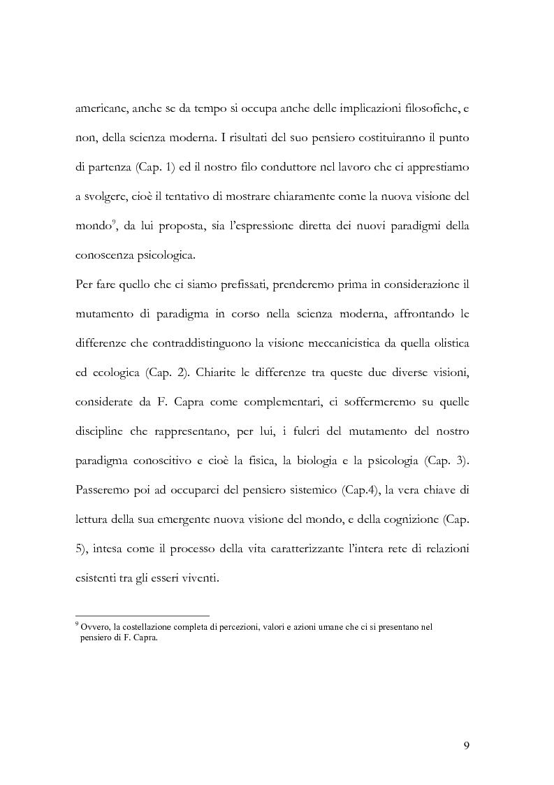 Anteprima della tesi: I nuovi paradigmi della conoscenza psicologica nel pensiero di Fritjof Capra, Pagina 6