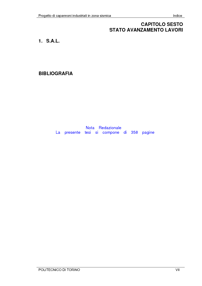 Indice della tesi: Progetto di capannoni industriali in zona sismica secondo nuova normativa, Pagina 7