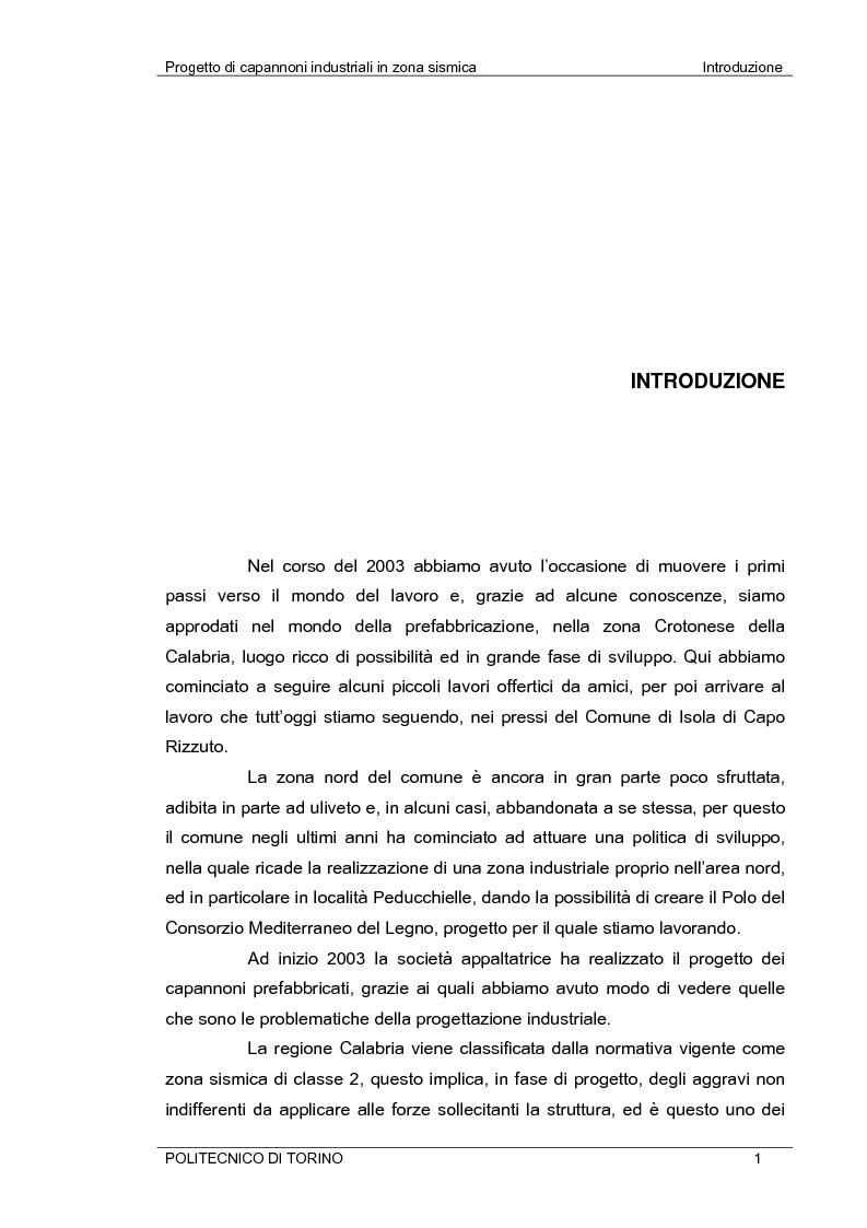 Anteprima della tesi: Progetto di capannoni industriali in zona sismica secondo nuova normativa, Pagina 1