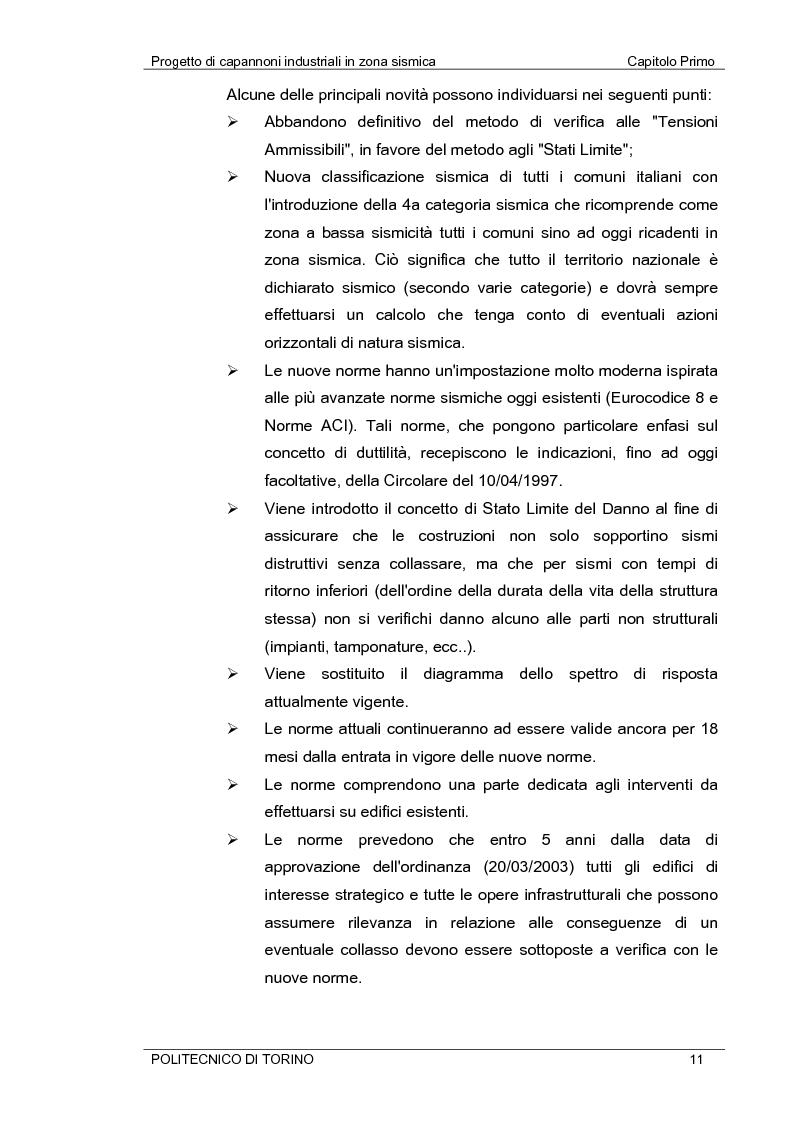 Anteprima della tesi: Progetto di capannoni industriali in zona sismica secondo nuova normativa, Pagina 11